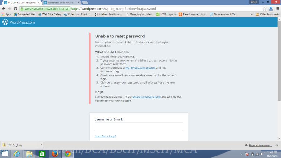 Unable to reset password