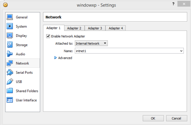 windows xp virtualbox setting